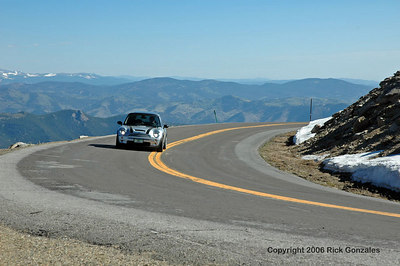 Jonathan and Berk heading up the Mt Evans road on opening day, May 26th, 2006. The Mt Evans road (paved) is closed during the winter months.