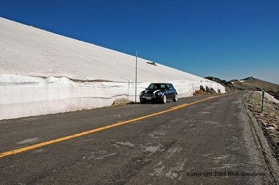 Lots of snow still remaining. For a time after opening (May 26th this year), the road may close temporarily if a Spring snowstorm hits.
