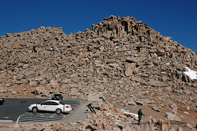 The parking area at the 14,130 ft level. Just a short 1/4 mile walk to the top, at 14,264.