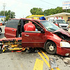 This was a head on collision next to the Beer Mart on North Main St .  Two women were transported to the hospital from this van.  The other was out of his auto.  Leominster Firefighers along with Med Star Ambulance responded to this scene<br /> <br /> Photo Scott LaPrade