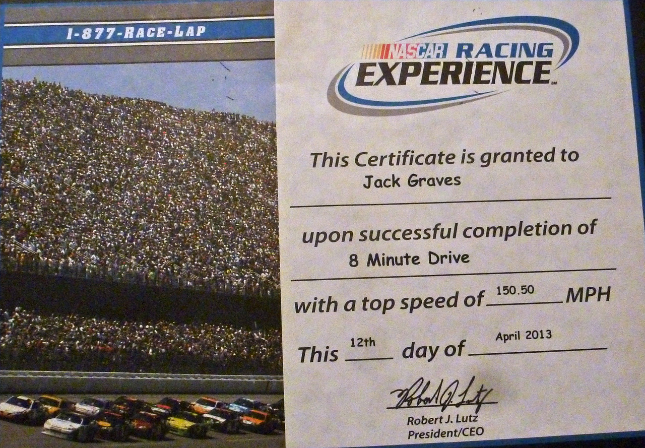 Certificate for Top speed of 150.5 MPH.<br /> <br /> the rev limited chop was set at 5,000 rpms which was 150 mph.  I hit the rev limits 3 times and had to back down a bit.