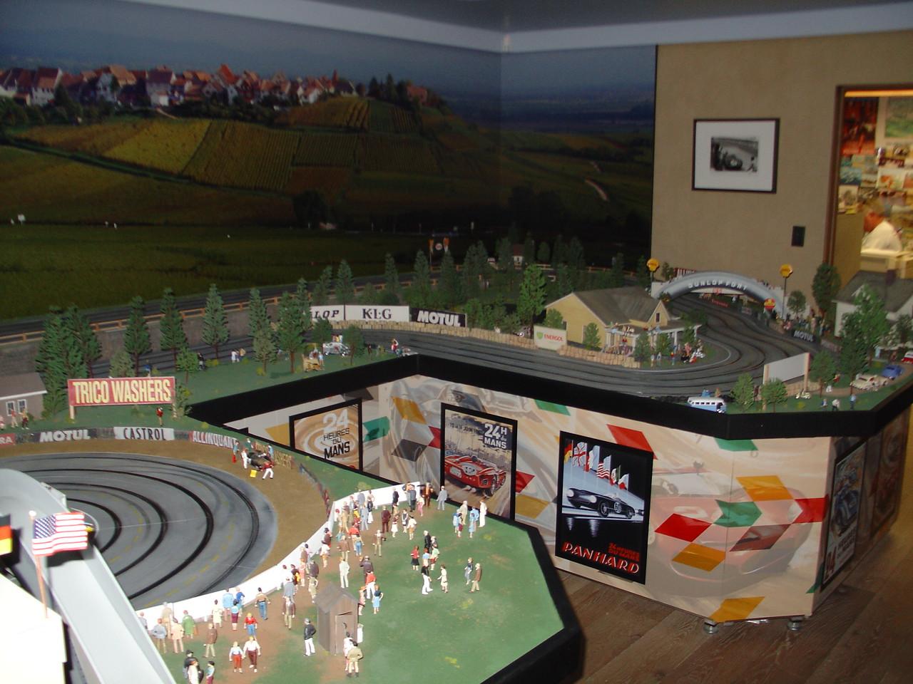 Miniature Le Mans slot car track.