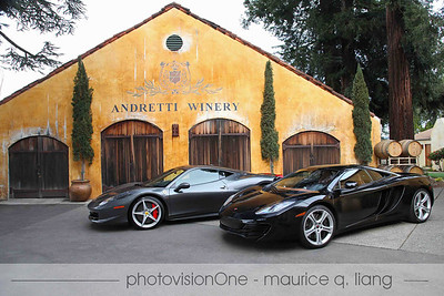 Ferrari 458 Italia and McLaren MP4-12c at Andretti Winery.  Owner: Larry Brackett  Photos by Maurice Liang