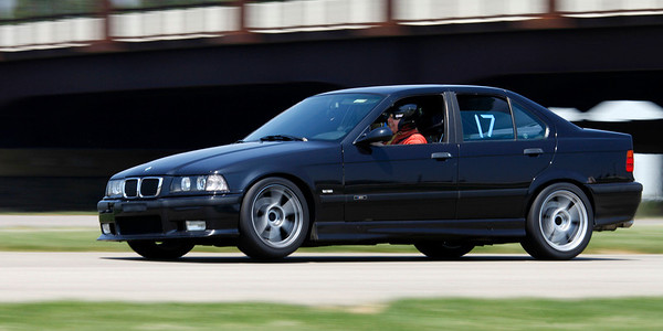 The fastest BMW was Class A/AA winner Jason Powell with a blistering 43.704 in his #17 black 1997 e36 M3 equipped with both Hoosier autocrossing race-compound tires and more than 130k miles on his original clutch. A record 32 drivers competed in the opening round of the Michiana BMW CCA autocross season at the Tire Rack on May 19, 2012. (Bradley S. Pines / CONTACT: OneTrackMind.brad@gmail.com)