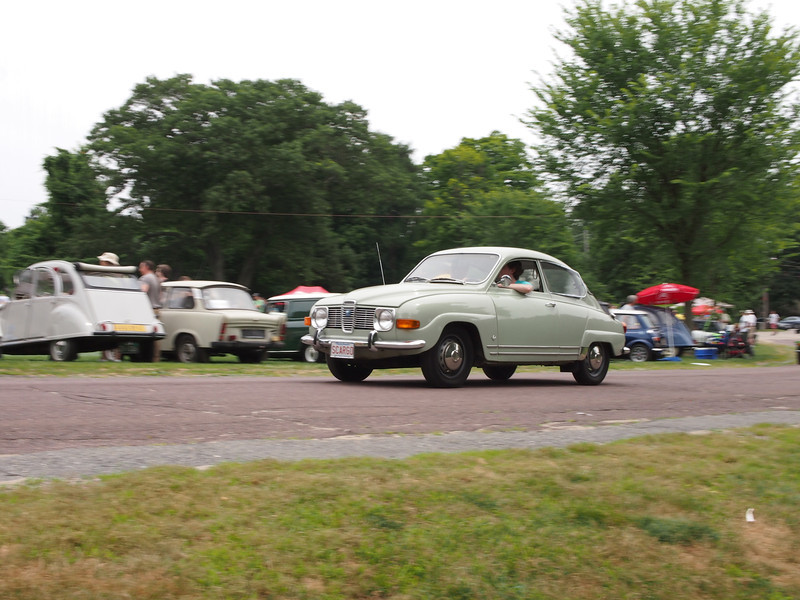 Saab 96 giving rides at the Microcar and Minicar show at Larz Andersen Auto Museum in Brookline, MA on July 15, 2012
