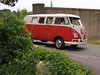 A Volkswagen Kombi at the Microcar and Minicar show at Larz Andersen Auto Museum in Brookline, MA on July 15, 2012