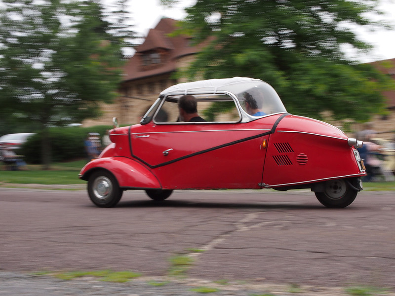 Messerschmitt KR200 giving rides at the Microcar and Minicar show at Larz Andersen Auto Museum in Brookline, MA on July 15, 2012