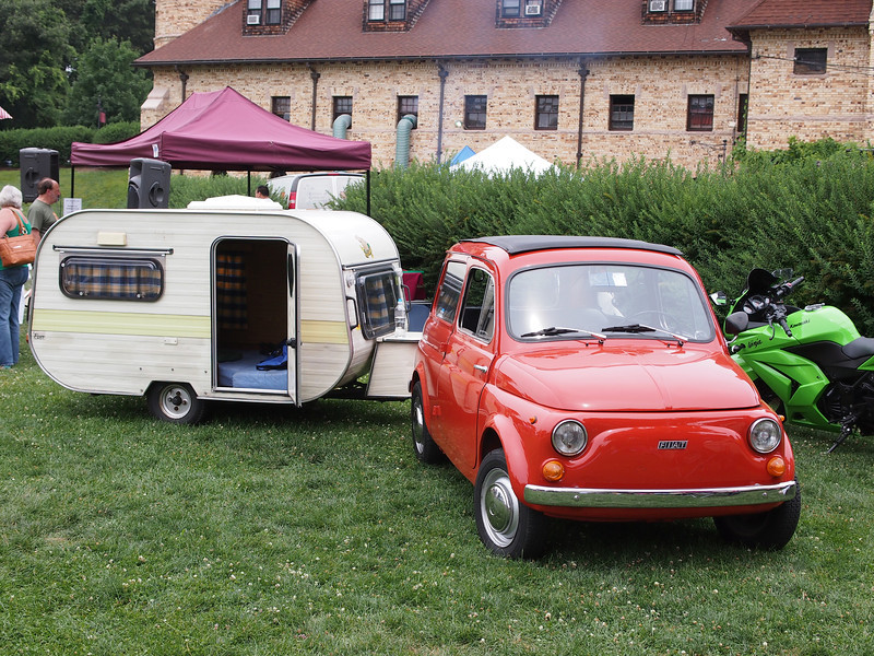 Fiat 600 with Camping Trailer at the Microcar and Minicar show at Larz Andersen Auto Museum in Brookline, MA on July 15, 2012