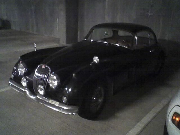 Jaguar XK150 Couple - hardtop. Parked in Microsoft.