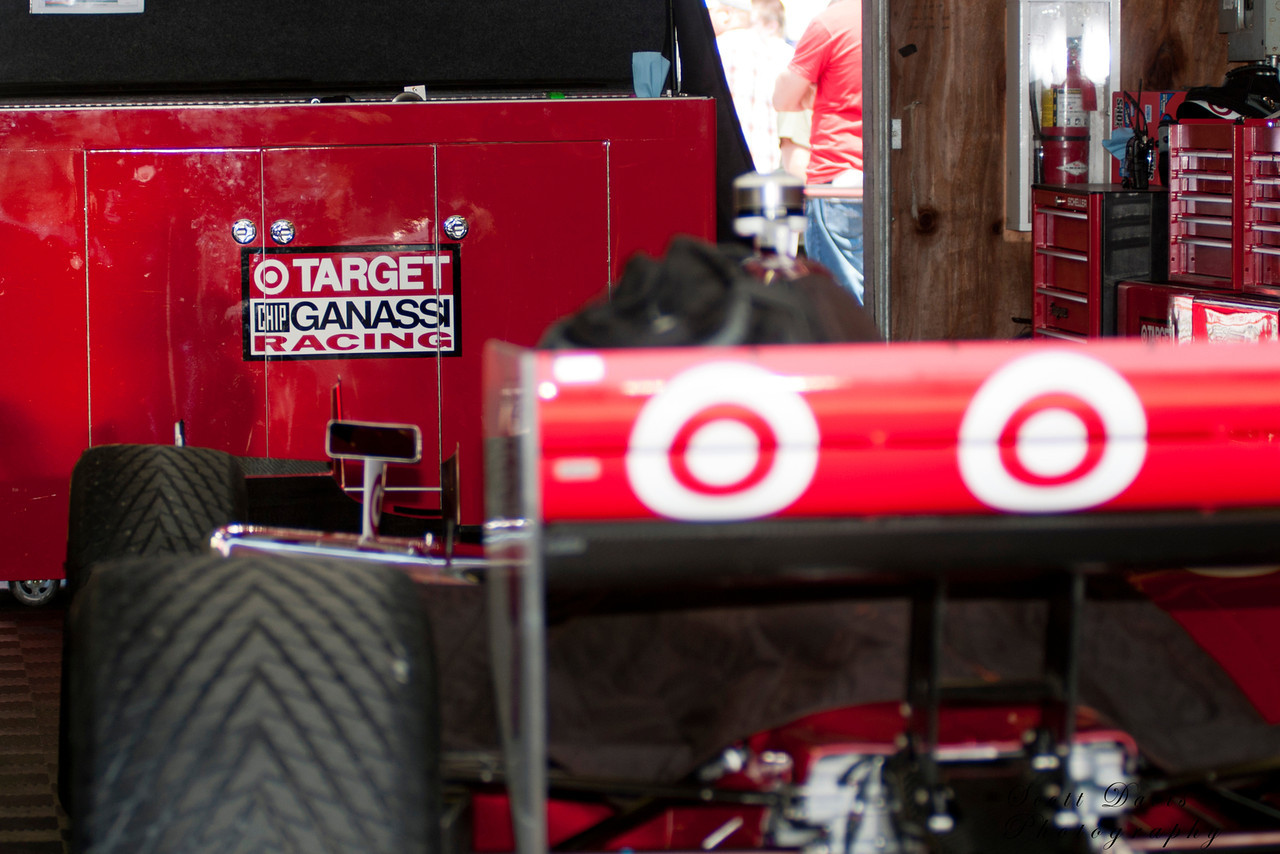 IZOD Honda Indy team Target Chip Ganassi Racing car in the garage before the Honda Indy 200 at Mid-Ohio in Lexington,Ohio.IZOD Honda Indy driver   during the Honda Indy 200 at Mid-Ohio in Lexington,Ohio.
