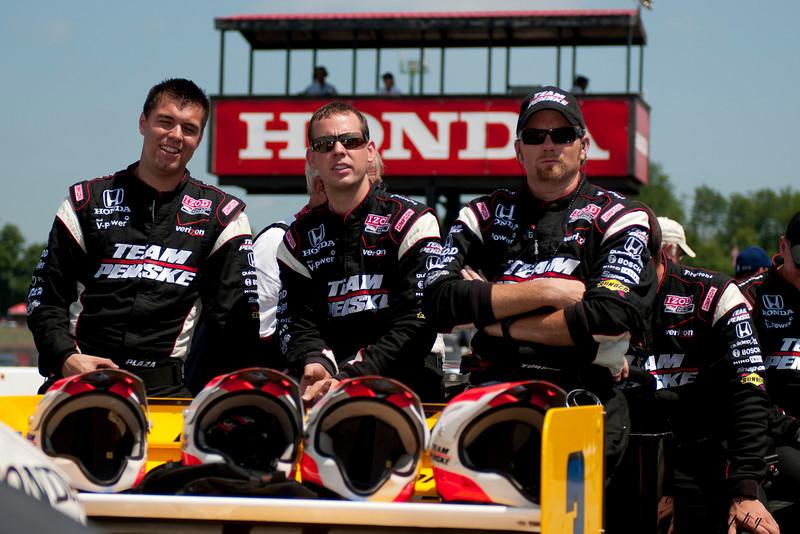 IZOD Honda Indy Team Penske pit crew before the Honda Indy 200 at Mid-Ohio in Lexington,Ohio.IZOD Honda Indy driver   during the Honda Indy 200 at Mid-Ohio in Lexington,Ohio.
