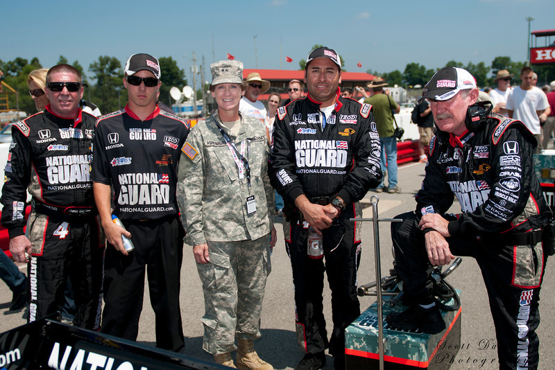 IZOD Honda Indy National Guard team Panther Racing with two star General Ashenhurst before the Honda Indy 200 at Mid-Ohio in Lexington,Ohio.IZOD Honda Indy driver   during the Honda Indy 200 at Mid-Ohio in Lexington,Ohio.