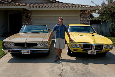 My 1968 Dodge Coronet 500 convertible and my Pontiac 1969 Firebird 400.