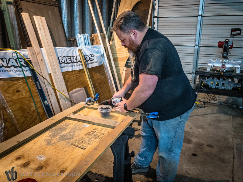 Using the Kreg jig to assemble a new front window frame after the old one disintegrated when we removed it.