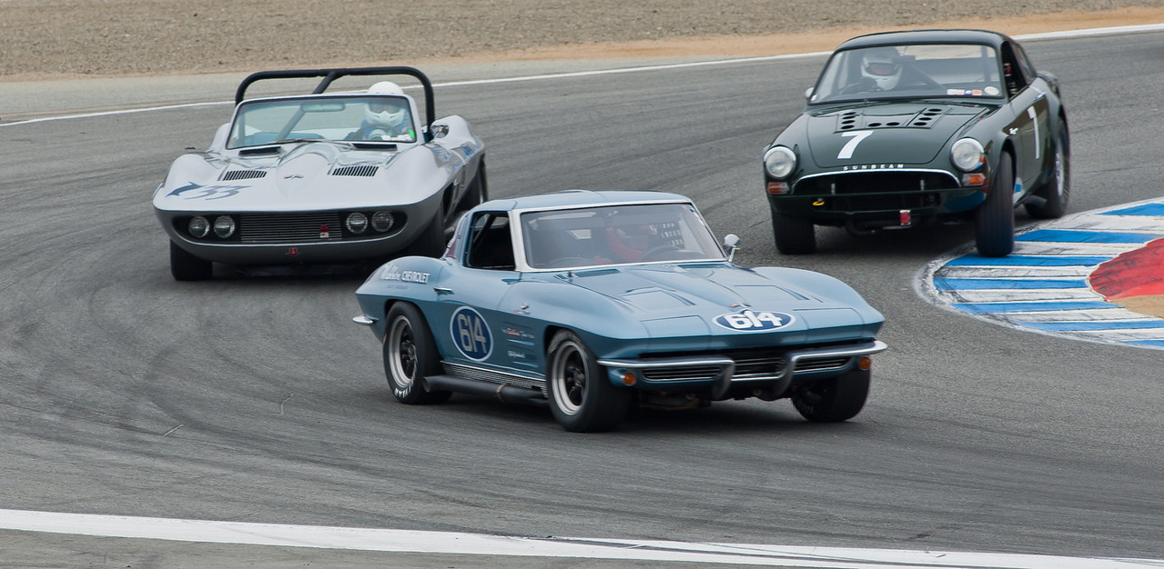 Vic Edelbrock in 1963 Corvette leads 1965 Fiberfab Stingray Special and 1964 Sunbeam Tiger
