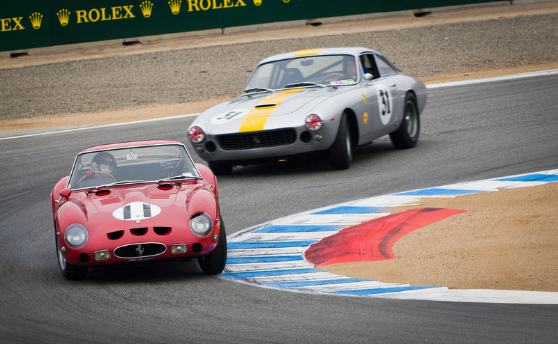 1962 Ferrari 250 GTO Chassis # 3467GT leads 1962 Ferrrari 250 GT Lusso