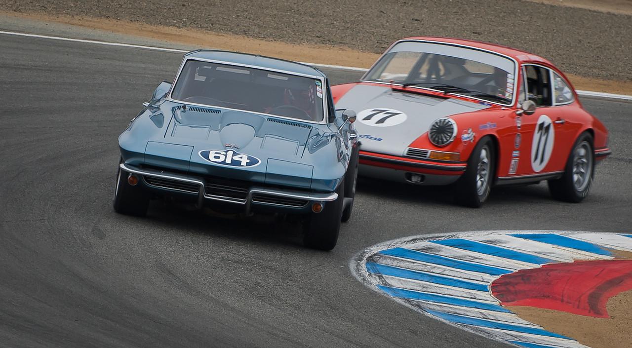 1963 Corvette Z06 leads 1968 Porsche 911S