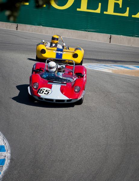 1965 Lotus 23B and 1962 Lotus 23B in hairpin