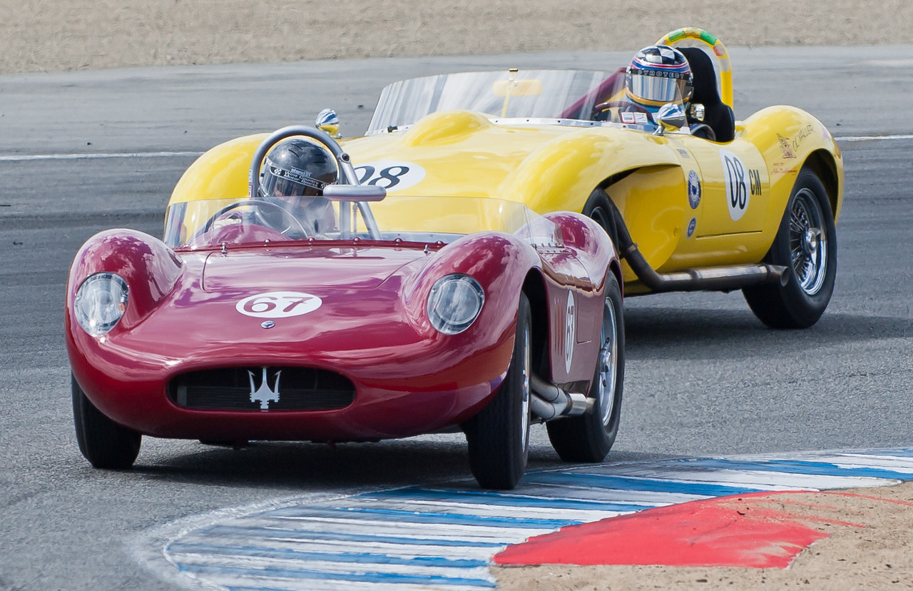 1957 Maserati 200SI and 1961 Jaguar Old Yaller.