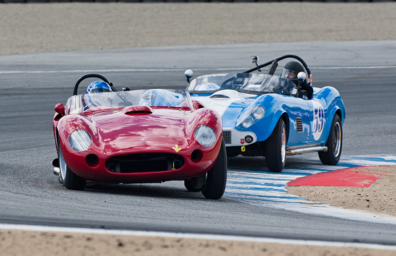 Rob Walton in 1957 Maserati 450S hard cornering to stay ahead of David Neidell in 1959 Kellison Corvette J-5 Roadster