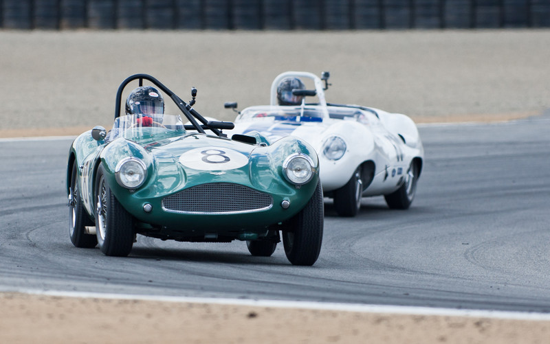 Bruce McCaw in 1955 Aston Martin DB3S leads Alex Buncombe in 1959 Lister Costin