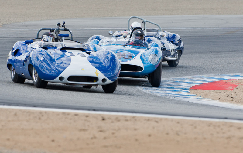 Bruce Canepa in 1959 Lister Corvette leads David Swig in 1958 Scarab Mk I and Erickson Shirley in 1959 Lister Costin