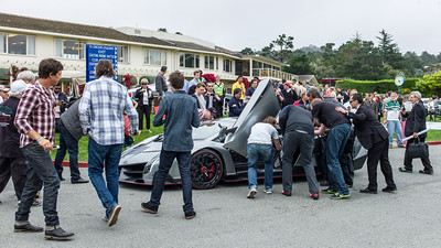 The evening before Pebble Beach 2013 - car paparazzi flock round the new Lamborghini Veneno arriving at Concept Lawn
