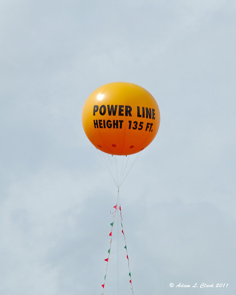 Balloon showing the height that the towers wouild be for the proposed Northern Pass Project