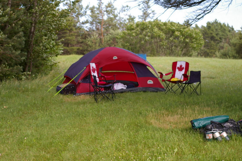 This was the $99.00 tent I got for the occassion. The Sleeping bags two were too small; of the 2 chairs one broke before the day was over. Sleeping was not at all like a Best Western, I hadn't camped since I was 14yrs old! The air mattress I brought had a hole in it so the ground was hard.....real hard...