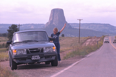 Susan with 1982 Saab 900T at Devil's Tower, WY (1982)