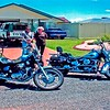 Our 'real' Toyota Hilux d/cab: our Yamaha Virago 1100: Rods Harley.They later built a car port here.
