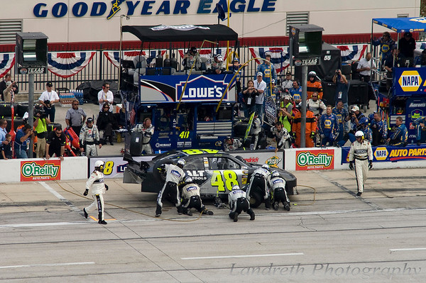 The car still wasn't quite right. This was one of many subsequent pit stops for adjustments.