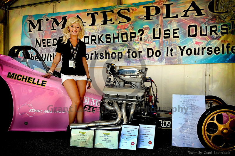 Michelle Osborn and her dragster at Motorvation 2011