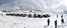Panoramic view of the MINIs and their drivers and passengers at Summit Lake, just 5 miles short of 14,240 ft Mount Evans.