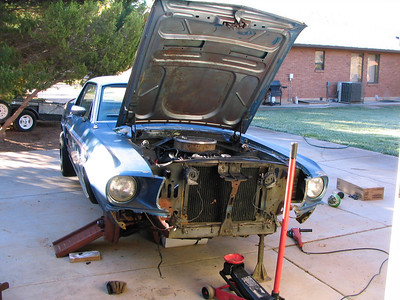 The front end removed for repair.