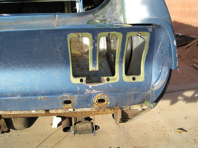 The right hand back tail light was also rusted out and had to be cut and welded.