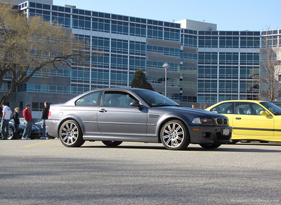 march 15 09 (woburn, mass) -- my M3 is displayed at the local Cars and Coffee meet for the first time, blemishes and all. It's bone stock on the outside with the stock suspension yet still draws quite a few people for (mostly negative) comments.