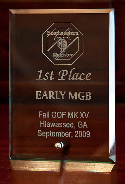 1st Place Award, Southeastern MGT Registry<br /> Gathering of the Faithfull<br /> Hiawassee, GA , Sept. 2009
