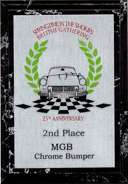 Second in Class at the 2012 British Car Gathering in Townsend, TN
