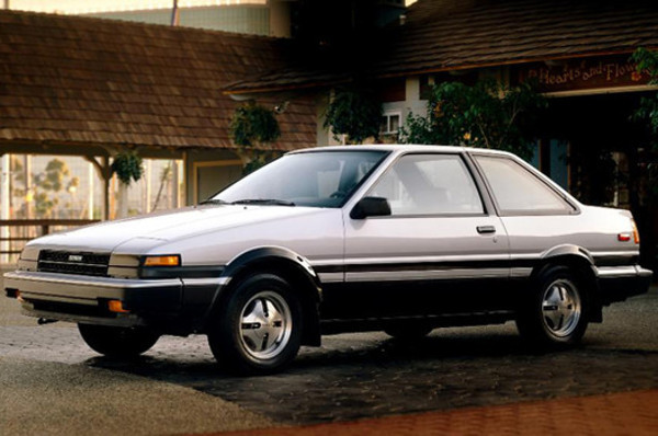 1984 Toyota Corolla SR5 (AE85 Trueno).  My first car and the only automatic transmission of all my cars.  This isn't actually it, but mine was identical).  I learned to counter-steer in this car.  Lightweight and rear-wheel drive with a solid-rear axle made it very fun.