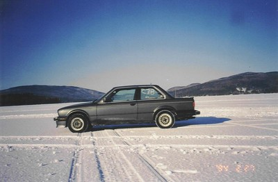 1987 E30 325is. Ice racing in New Hampshire. This car was all stock except for Bilstein HDs. It was wrecked a few months later :(