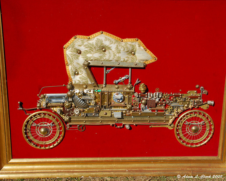 A car made from trinkets and doodads.
