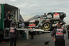 Early on Fri. A.M his crew begins off loading the 7,000 H.P Funny Car...