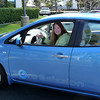Jeanie Anderson with new Nissan LEAF, a Zero Emissions Electric Vehicle.  Color is Ocean Blue.