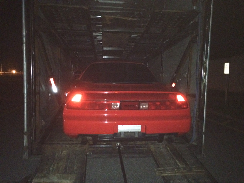 My NSX in Long Island being loaded for the long trip home to Tucson.