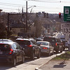 Traffic on Andover Street looking west, at the intersection of Andover and Nesmith Streets in Lowell, between 5-6pm rush hour.  (SUN/Julia Malakie)