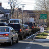 Traffic northbound on Nesmith Street, approaching East Merrimack Street in Lowell, between 5-6pm rush hour.  (SUN/Julia Malakie)
