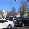 Eastbound traffic on Andover Street, turning onto Nesmith Street in Lowell, between 5-6pm rush hour.  (SUN/Julia Malakie)