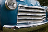 1950 Chevy pickup truck grill blue truck and chrome bumper