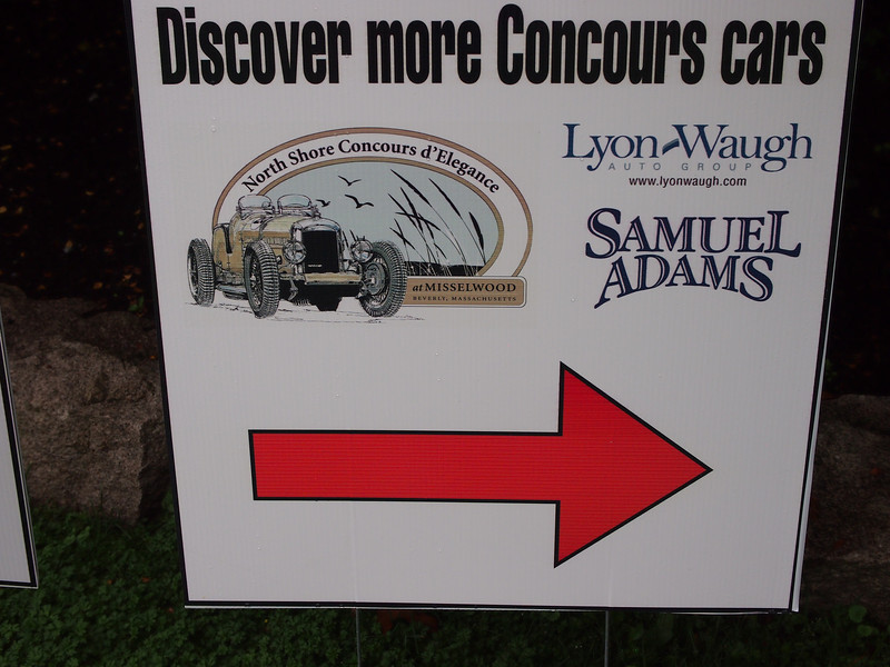 Sign at North Shore Concours d'Elegance at Misselwood, Endicott College Beverly, MA on July 29, 2012